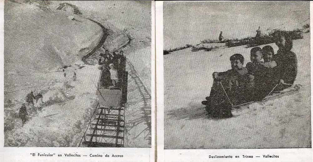 A la izquierda el viejo funicular. A la derecha niños en trineo. Folleto de la década del '60.