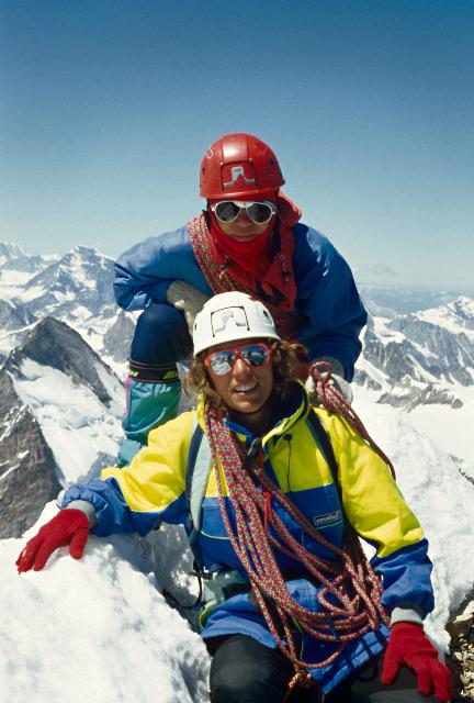 Con Patricia Lona en la cumbre del Matterhorn, en 1991.